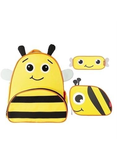 Zoozy Arı Çanta Seti (Sırt Çanta-Beslenme Çantası-Kalemlik) Renkli